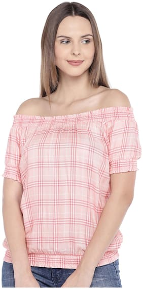 Women Checked Off Shoulder Top ,Pack Of 1