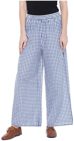Globus Women Flared Fit Mid Rise Printed Pants - Blue