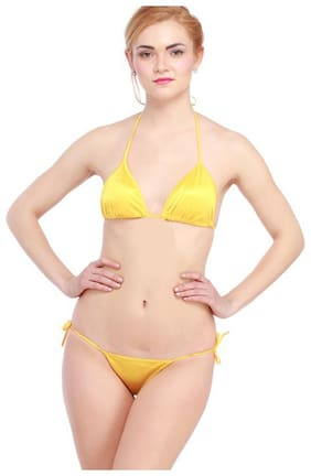 Glus Bridal Honeymoon Satin Halter Bikini Set  Size - 30 To 36  Color - Yellow