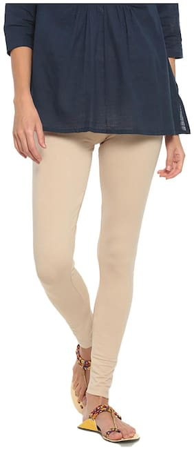 GO COLORS Cotton Solid Beige  Tights For Women