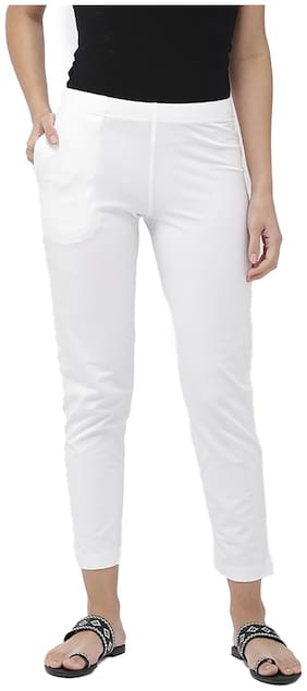 GO COLORS Cotton Solid White  Tights For Women