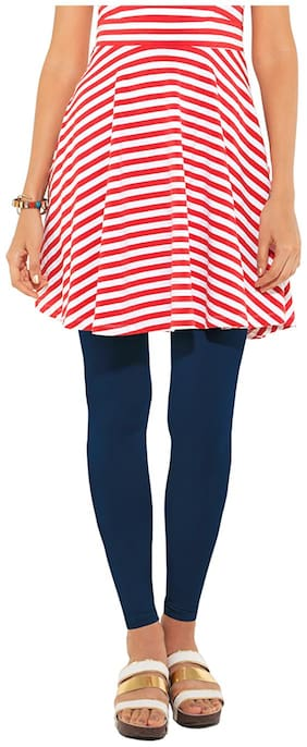 GO COLORS Cotton Solid Blue  Tights For Women