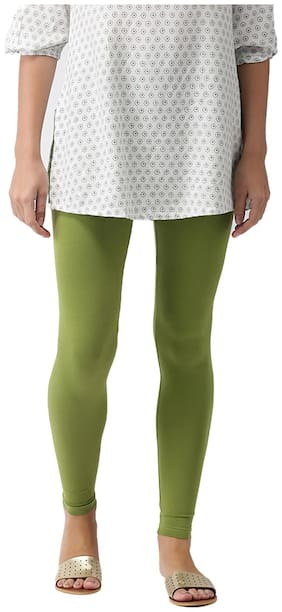 GO COLORS Cotton Solid Green  Tights For Women