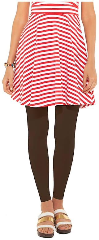 GO COLORS Cotton Solid Brown  Tights For Women