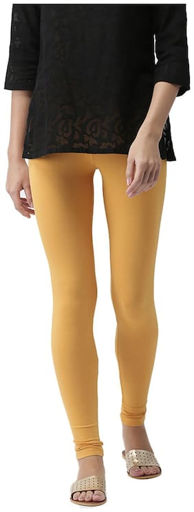 GO COLORS Cotton Solid Yellow  Tights For Women