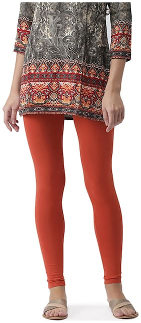 GO COLORS Cotton Solid Orange  Tights For Women