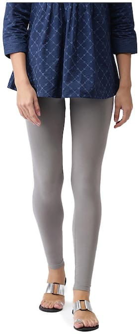 GO COLORS Cotton Solid Grey  Tights For Women