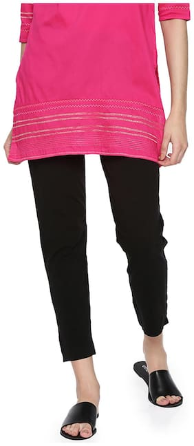 GO COLORS Cotton Solid Black  Tights For Women