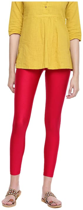 GO COLORS Nylon Solid Red  Tights For Women