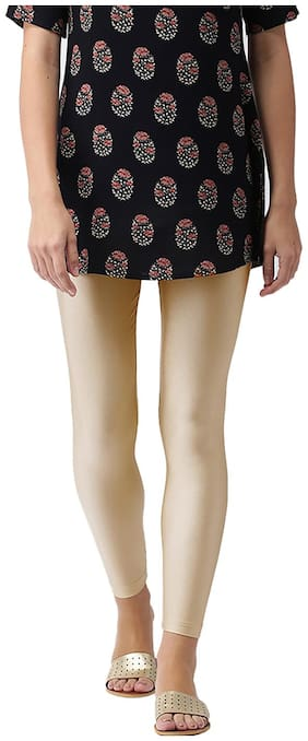 GO COLORS Nylon Solid Gold  Tights For Women