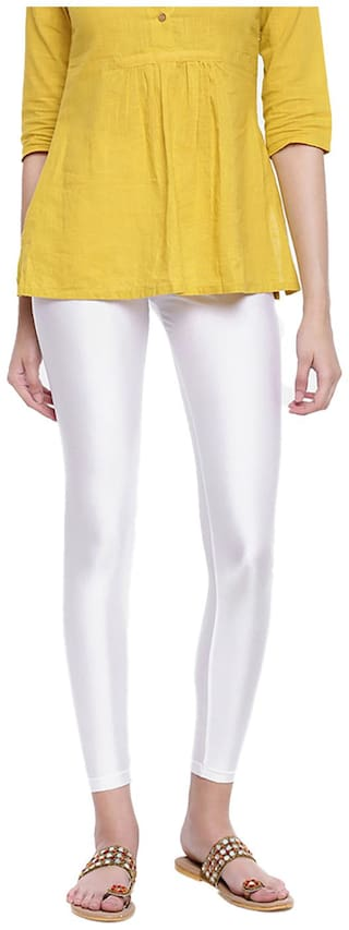 GO COLORS Nylon Solid White  Tights For Women