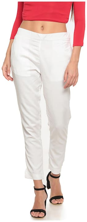 GO COLORS Viscose Solid White  Tights For Women