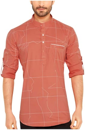 Go Stylish Men Pink Regular Fit Kurta