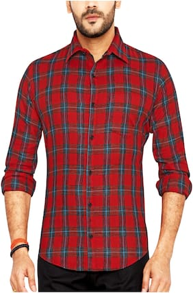 Go Stylish Men Red Checked Regular Fit Casual Shirt