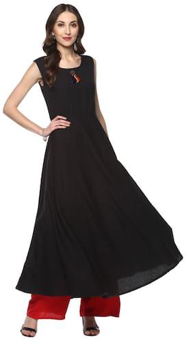 a90af4cfc GOD BLESS Women Cotton Solid Anarkali Kurta - Black