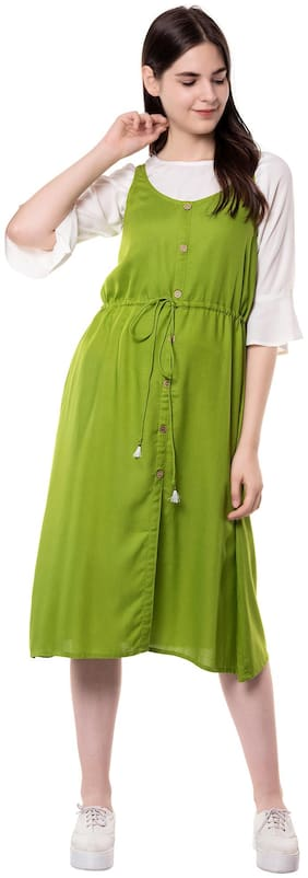 GOD BLESS Green & White Solid Fit & flare dress