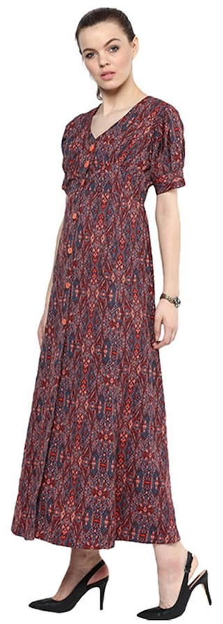 Print dress button maxi Goe down 8dUCwqU