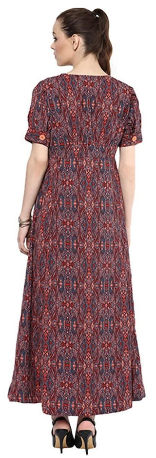 down Goe dress button Print maxi qgnnUwZf