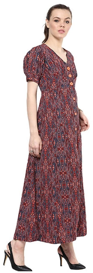Print maxi down Goe button dress OxSqxdFwA
