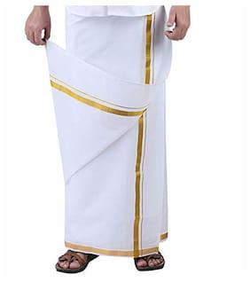 THARUN Cotton Solid Regular dhoti & Mundu Dhoti - White & Gold