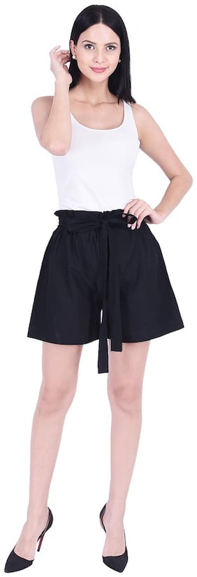 GOOD LOOK INDIA Women Solid Regular shorts - Black
