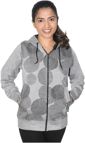 Goodluck Women Printed Sweatshirt - Grey