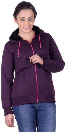 Goodluck Women Solid Sweatshirt - Purple