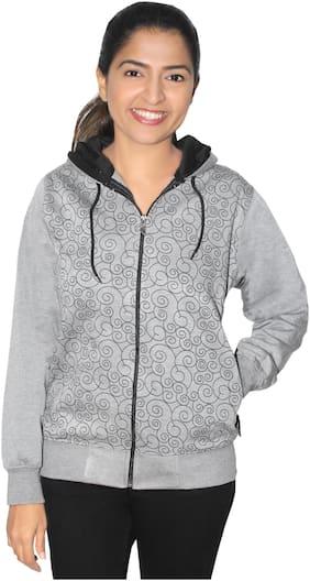 Goodluck Women Printed Sweatshirt - Grey