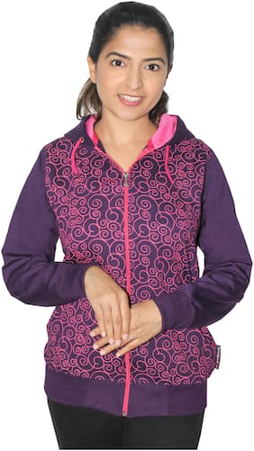 Goodluck Women Printed Sweatshirt - Purple