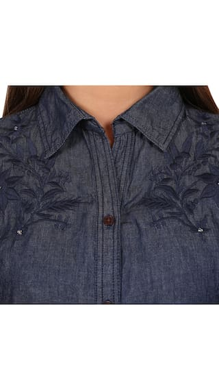 GOODWILL Western 3 For wear Shirt Stylish Wear Women and 4th Casual Denim Sleeve Daily vvnfwpqr7