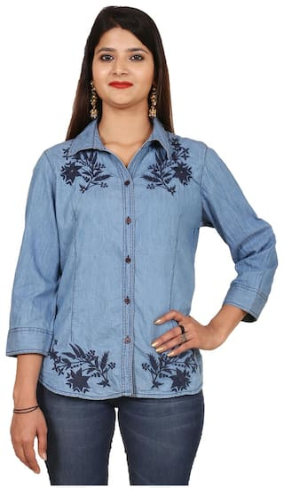 GOODWILL 3/4th Sleeve Denim Shirt Daily wear Stylish Casual and Western Wear For Women