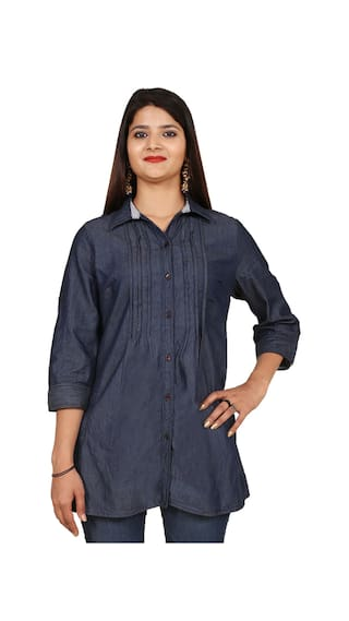 GOODWILL 3/4th Sleeve Denim Long Shirt Daily wear Stylish Casual and Western Wear For Women