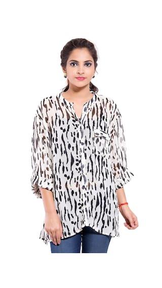 GOODWILL Women's Casual Wear Black & White Georgette Shirt
