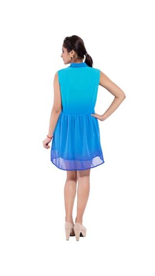 Wear Blue GOODWILL Casual Dress Georgette Women's ggrEtwqx1
