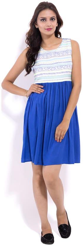 GOODWILL Women's  Casual Wear  Blue Rayon Dress