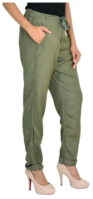Solid Goodwill Rayon Green Trouser Casual 5n00S