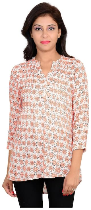 Goodwill Casual Printed 3/4th Sleeve Pink Rayon Top