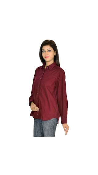 Shirt Goodwill Casual Maroon Full Solid Cotton Sleeve vgwwWZYSq