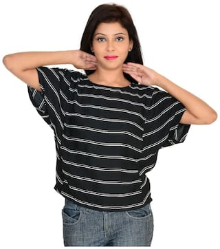Goodwill Casual Printed Half Sleeve Black Poly Crepe Top