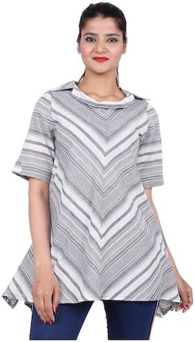 Goodwill Women Striped Regular top - Grey & White