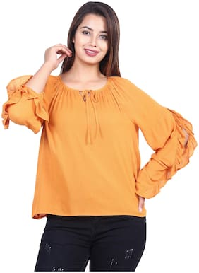 Goodwill Women Solid Fusion top - Yellow