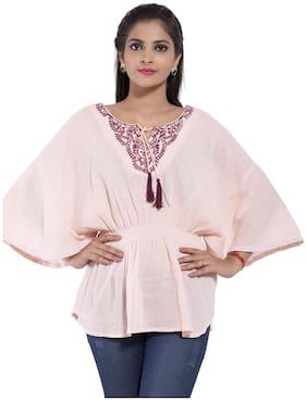 GOODWILL Women's  Casual Wear  Cream Rayon Top