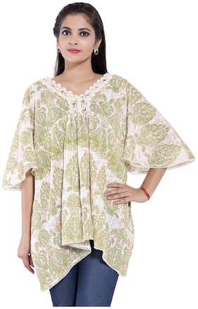Women Floral Mandarin Collar Top