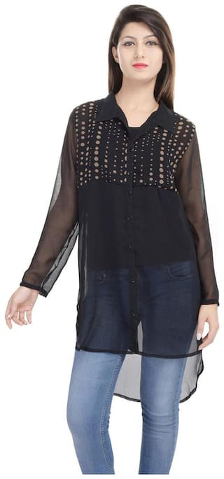 Goodwill Impex Casual Wear Black Georgette Tunic