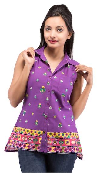 Purple GOODWILL Wear Casual Cotton Women's Shirt 0HxnHTtq