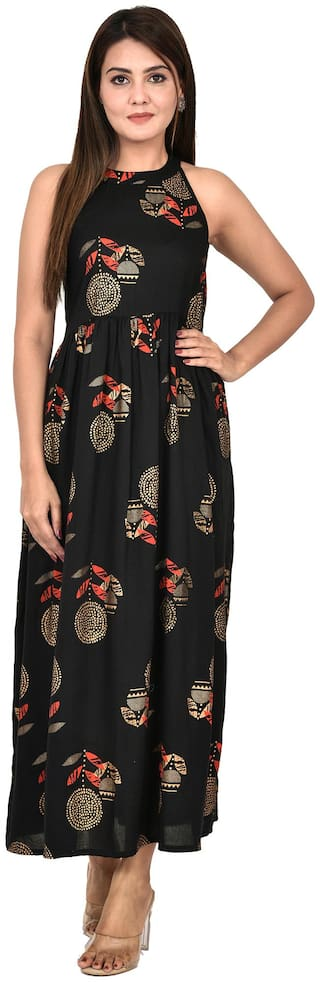 Goodwill Black Printed Fit & flare dress