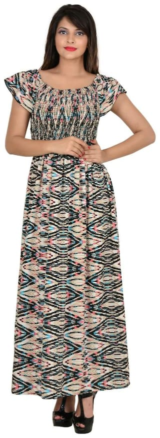 GOODWILL Women's Multicolor Graphic Print Fit & Flair Maxi Dress