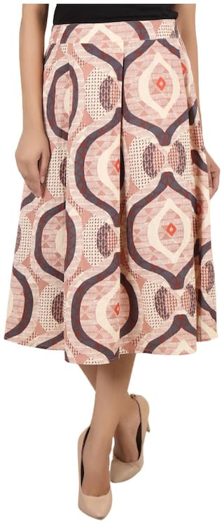 GOODWILL Women's Casual Wear Multi Color Printed Skirt