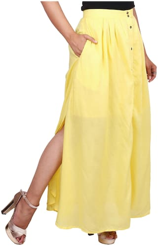 Goodwill Solid A-line skirt Maxi Skirt - Yellow