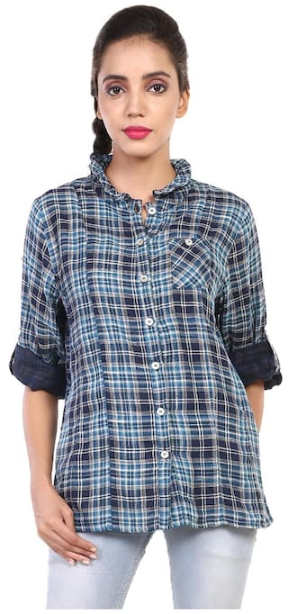 GOODWILL Women's Checkered Casual Multicolor Cotton Shirt